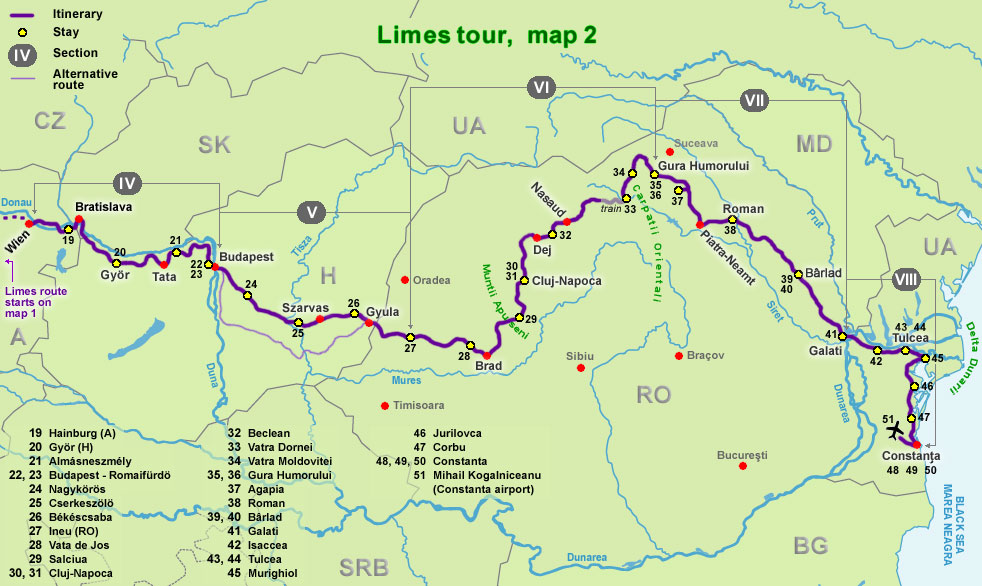 Limes long distance cycling tour part 2 Wien Constanta